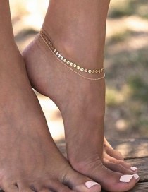 Fashion Gold Color Sequins Decorated Double Layer Pure Color Anklet