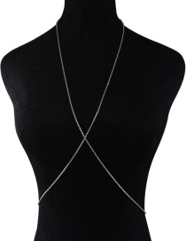 Fashion Silver Color Chain Decorated Pure Color Simple Body Chain
