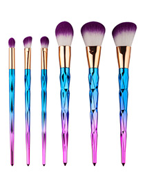 Fashion Pink+blue Color Matching Decorated Simple Makeup Brush(6pcs)