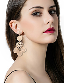 Fashion Gold Color Coins Decorated Pure Color Earrings