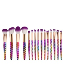 Fashion Multi-color Color Matching Decorated Simple Makeup Brush (15 pcs)