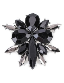 Fashion Black Diamond Decorated Water Drop Shape Pure Color Brooch