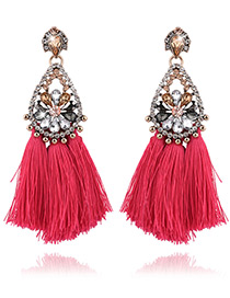 Fashion Red Tassel&diamond Decorated Pure Color Earrings
