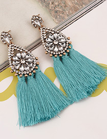 Fashion Green Tassel&diamond Decorated Pure Color Earrings