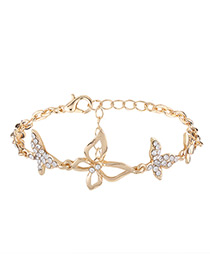 Elegant Gold Color Hollow Out Butterfly Decorated Bracelet