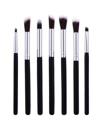 Fashion Black Color-matching Decorated Brush (7pcs)