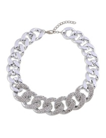 Fashion Silver Color Diamond Decorated Pure Color Necklace