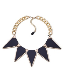 Fashion Black Triangle Shape Diamond Decorated Necklace