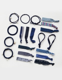 Fashion Navy Color Matching Decorated Hair Band (20pcs+box)