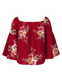Fashion Claret Red Flower Pattern Decorated Pure Color Long Sleeve Shirt