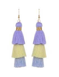 Fashion Pureple Tassel Decorated Pure Color Earrings