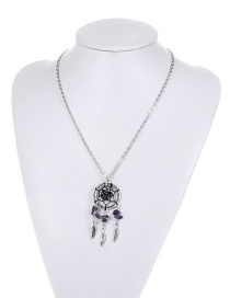 Bohemia Purple Aeolian Bells Decorated Necklace