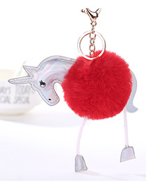 Lovely Red Unicorn Decorated Key Ring