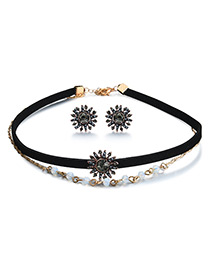 Vintage Black Sun Shape Decorated Double Layer Jewelry Sets