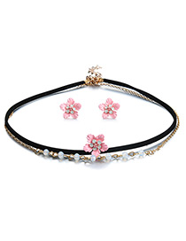 Vintage Pink Flower Shape Decorated Double Layer Jewelry Sets