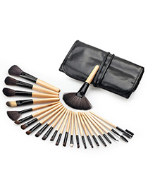 Fashion Black+yellow Color-matching Decorated Brush (24pcs)