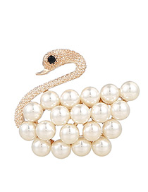 Fashion Gold Color Pearl Decorated Swan Shape Pure Color Brooch