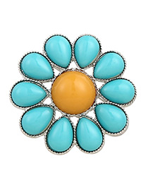 Fashion Yellow+blue Flower Shape Decorated Pure Color Brooch