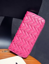 Fashion Plum Red Pure Color Decorated Weave Shape Wallet