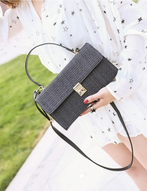 Fashion Black Buckle Shape Decorated Pure Color Shoulder Bag