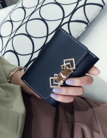 Fashion Black Square Shape Decorated Pure Color Wallet
