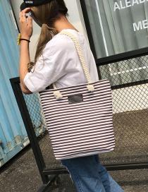Fashion Brown Stripe Pattern Decorated Pure Color Shoulder Bag