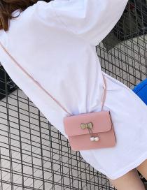 Fashion Pink Bowknot Shape Decorated Pure Color Shoulder Bag