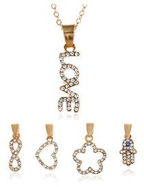 Fashion Gold Color Diamond Decorated Letter Shape Pure Color Necklace
