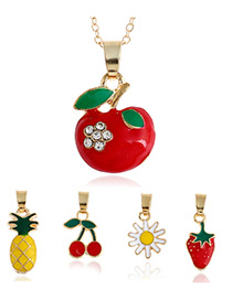 Fashion Multi-color Diamond Decorated Fruit Shape Simple Necklace