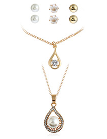 Fashion Gold Color Pearl&diamond Decorated Pure Color Necklace