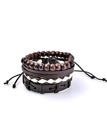 Fashion Coffee Bead Decorated Multi-layer Simple Bracelet