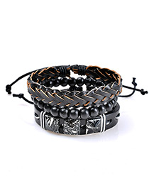 Fashion Black Bead Decorated Multi-layer Simple Bracelet