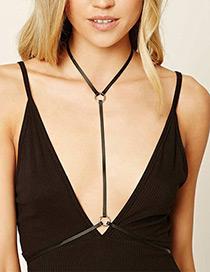 Fashion Black Circular Ring Decorated Pure Color Body Chain