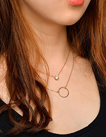 Fashion Gold Color Circular Ring Decorated Double Layer Necklace