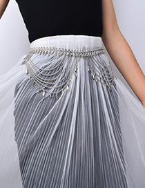 Fashion Silver Color Tassel Decorated Pure Color Waist Chain