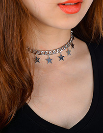 Fashion Silver Color Stars Decorated Pure Color Simple Choker