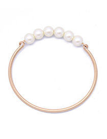 Elegant White Pearls Decorated Simple Bracelet