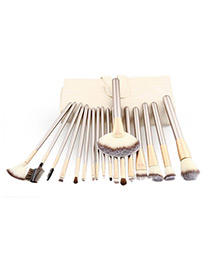 Trendy Gold Color +beige Pure Color Decorated Makeup Brush(18pcs)
