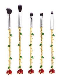 Trendy Gold Color Flower Shape Decorated Makeup Brush(5pcs)