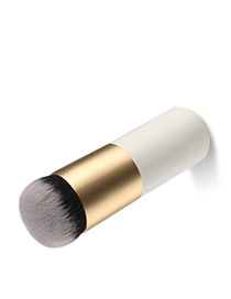Trendy White+gold Color Color Matching Decorated Makeup Brush(1pc)