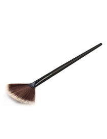 Trendy Black+grey Sector Shape Decorated Simple Makeup Brush(1pc)