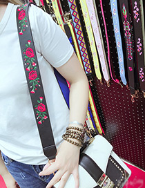Fashion Black Embroidery Flower Pattern Decorated Bag Strap