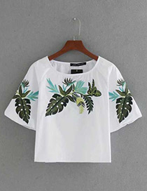 Fashion White Embroidery Flower Decorated Short Sleeves Blouse