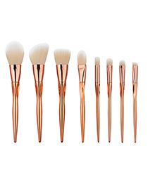 Trendy Rose Gold Pure Color Decorated Makeup Brush(8pcs)