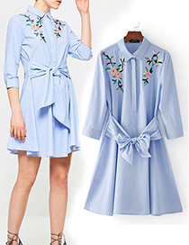 Fashion Blue Embroidery Flower Decorated Simple Dress