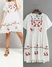 Fashion White Embroidery Flower&bird Decorated Simple Dress