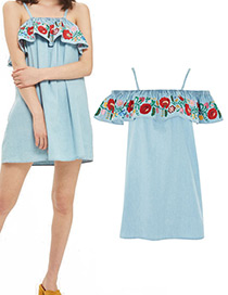 Fashion Light Blue Embroidery Flower Decorated Simple Dress