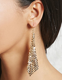 Fashion Gold Color Sequins Decorated Pure Color Simple Earrings