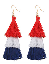 Fashion Red+white+blue Tassel Decorated Color Mathing Simple Earrings