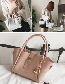 Fashion Pink Buckle Decorated Pure Color Shoulder Bag